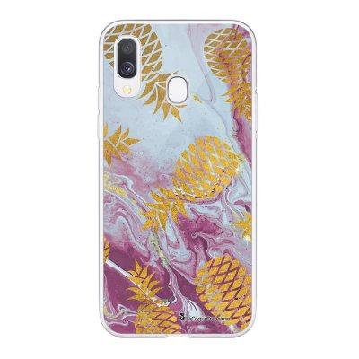 Coque Samsung Galaxy A20e 360 intégrale transparente Marbre Ananas Or Ecriture Tendance Design La Coque Francaise