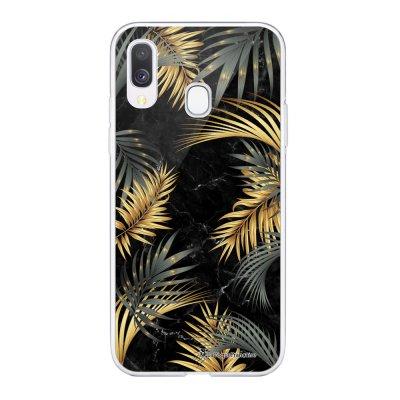Coque Samsung Galaxy A20e 360 intégrale transparente Feuilles de Palmier Noir Ecriture Tendance Design La Coque Francaise