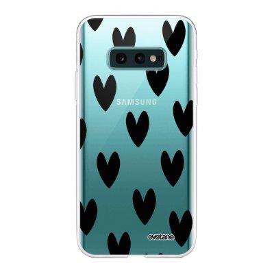 Coque Samsung Galaxy S10e 360 intégrale transparente Coeurs Noirs Ecriture Tendance Design Evetane
