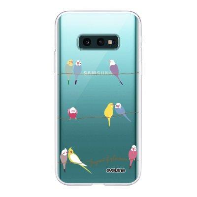 Coque Samsung Galaxy S10e 360 intégrale transparente Perruches Ecriture Tendance Design Evetane