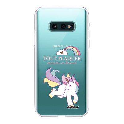 Coque Samsung Galaxy S10e 360 intégrale transparente Partir En Licorne Ecriture Tendance Design Evetane
