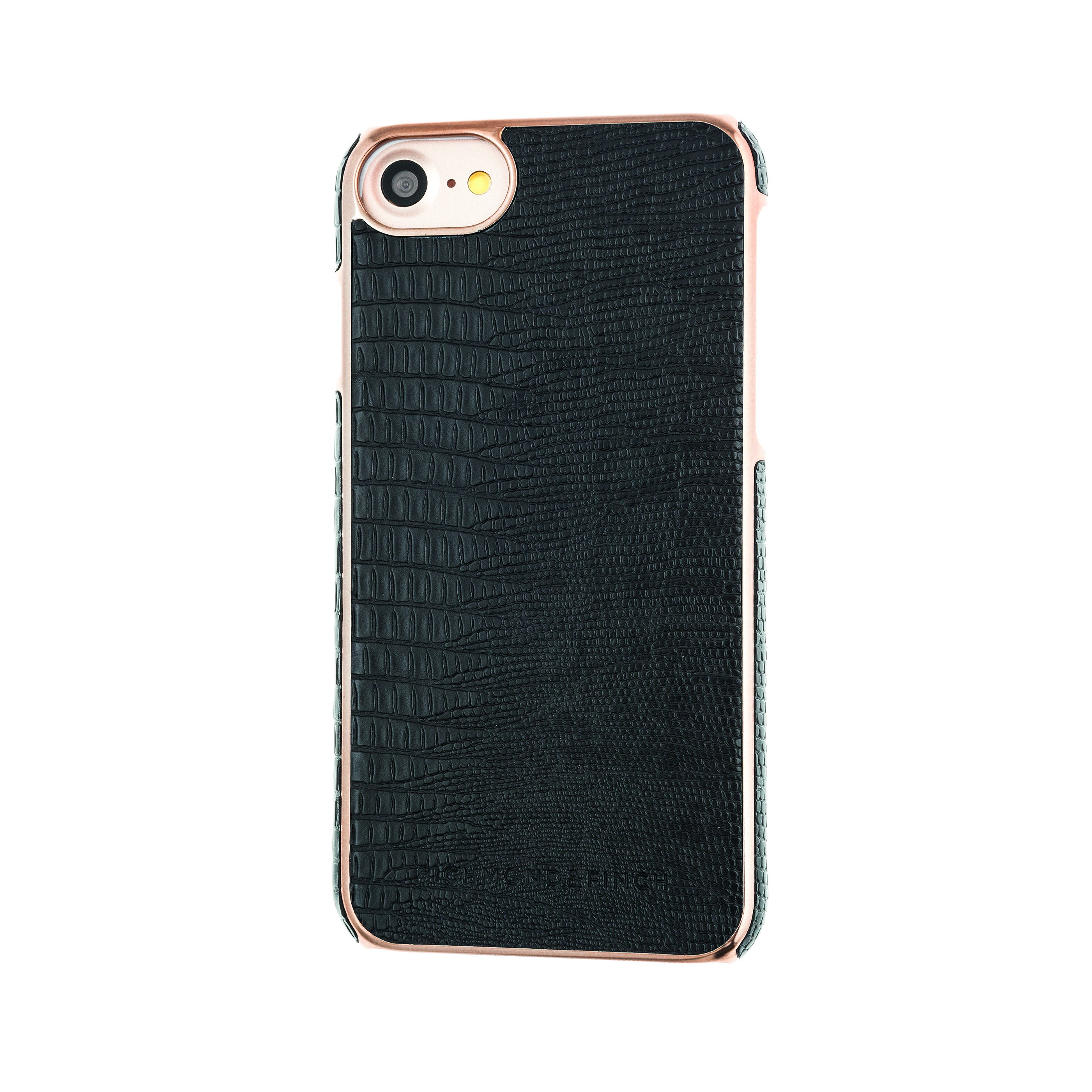 Richmond & Finch Coque Framed Rosé for iPhone 7 black reptile ...