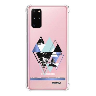 Coque Samsung Galaxy S20 Plus anti-choc souple avec angles renforcés transparente Triangles Bleus Evetane