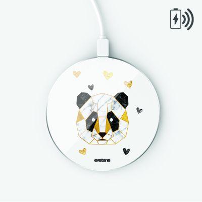Chargeur Induction blanc Panda Géométrique Ecriture Tendance et Design Evetane