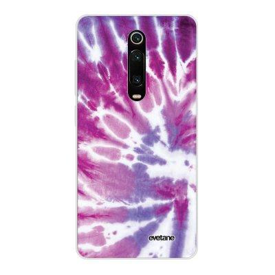 Coque Xiaomi Mi 9T 360 intégrale transparente Tie and Dye Violet Ecriture Tendance Design Evetane