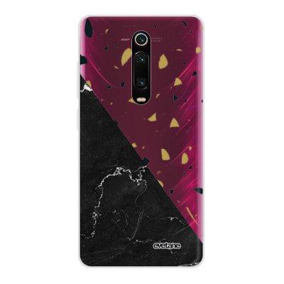 Coque Xiaomi Mi 9T 360 intégrale transparente Terrazzo marbre Noir Ecriture Tendance Design Evetane