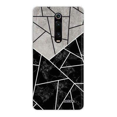 Coque Xiaomi Mi 9T 360 intégrale transparente Duo Noir-Gris Marbre Ecriture Tendance Design Evetane