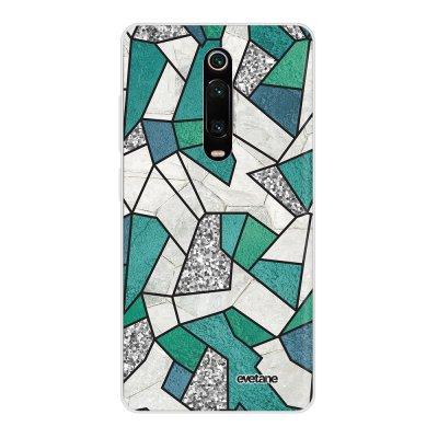 Coque Xiaomi Mi 9T 360 intégrale transparente Marbre Bleu Vert et Gris Ecriture Tendance Design Evetane
