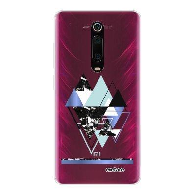 Coque Xiaomi Mi 9T 360 intégrale transparente Triangles Bleus Ecriture Tendance Design Evetane
