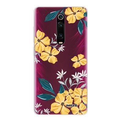 Coque Xiaomi Mi 9T 360 intégrale transparente Fleurs jaunes Ecriture Tendance Design Evetane