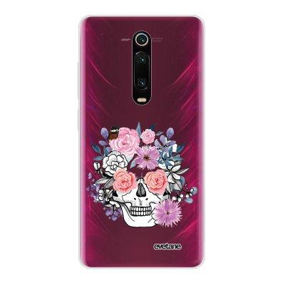 Coque Xiaomi Mi 9T 360 intégrale transparente Crâne floral Ecriture Tendance Design Evetane