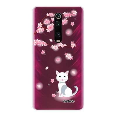 Coque Xiaomi Mi 9T 360 intégrale transparente Chat et Fleurs Ecriture Tendance Design Evetane