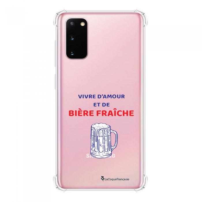 Coque Samsung Galaxy S20 anti-choc souple avec angles renforcés transparente Vivre amour et Biere La Coque Francaise