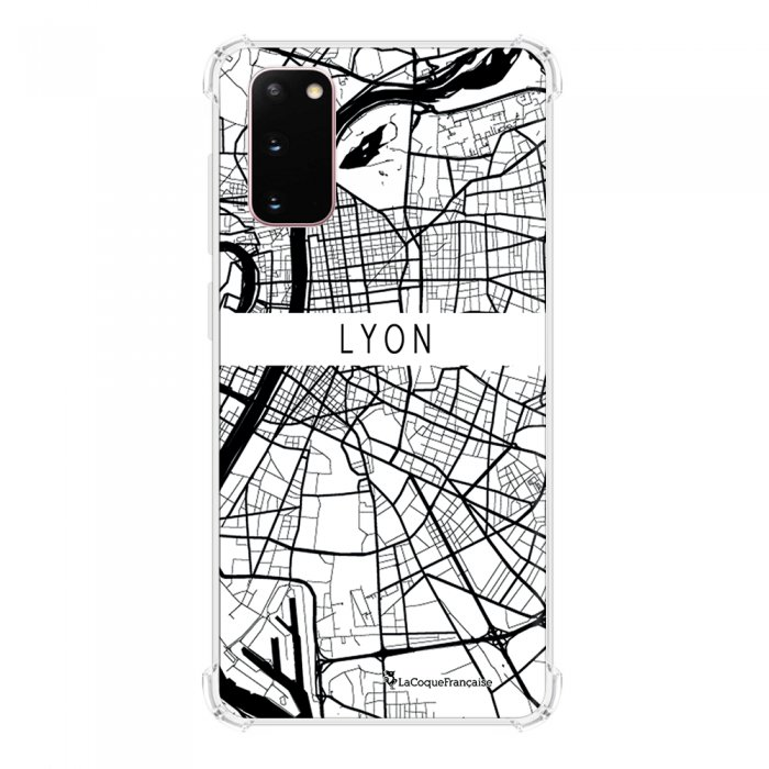 Coque Samsung Galaxy S20 anti-choc souple avec angles renforcés transparente Carte de Lyon La Coque Francaise