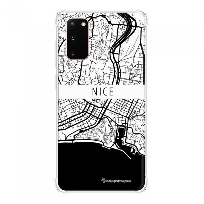 Coque Samsung Galaxy S20 anti-choc souple avec angles renforcés transparente Carte de Nice La Coque Francaise