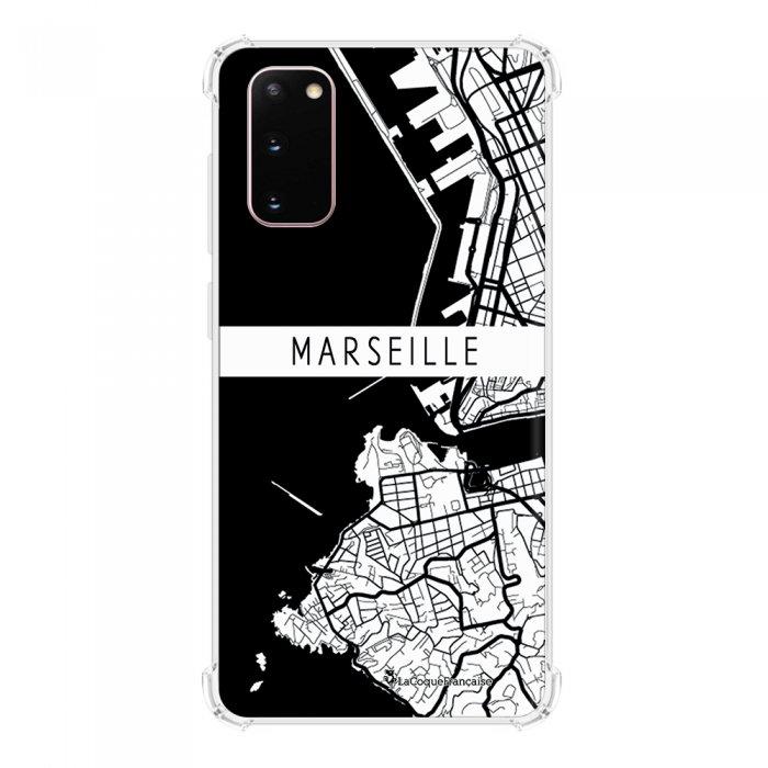 Coque Samsung Galaxy S20 anti-choc souple avec angles renforcés transparente Carte de Marseille La Coque Francaise