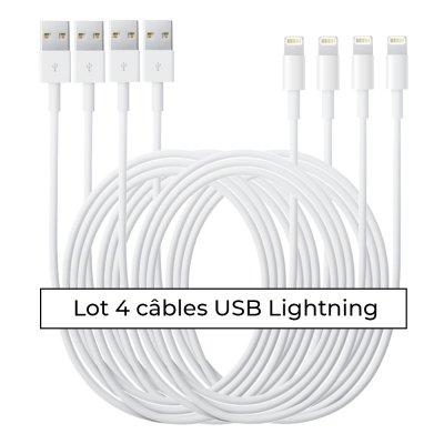 Lot 4 câbles Lightning blanc