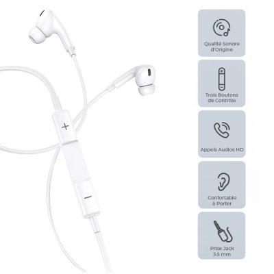 Écouteurs filaires intra-auriculaires avec prise jack de 3,5 mm et  microphone 1,2 m- blanc