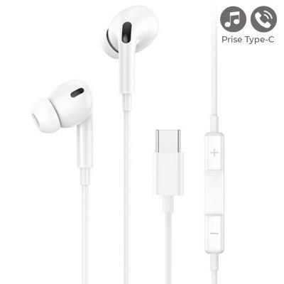 Écouteurs filaires intra-auriculaires avec prise Type C et  microphone 1,2 m- blanc