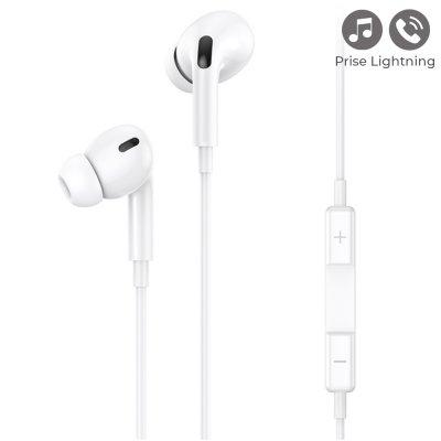 Écouteurs filaires intra-auriculaires avec prise Lightning et  microphone 1,2 m- blanc