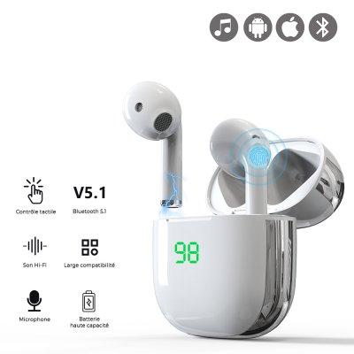 Ecouteurs Sans Fil Bluetooth avec affichage LED Blanc