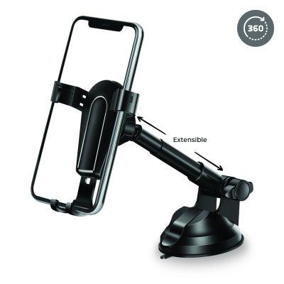 Support voiture de téléphone ventouse rotatif à 360 ° noir