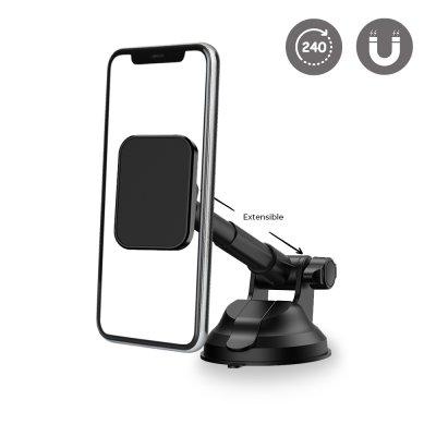 Support voiture de téléphone magnétique rotatif à 360 ° noir