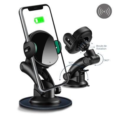 Support voiture de téléphone avec charge à induction pour voiture rotatif 360° noir