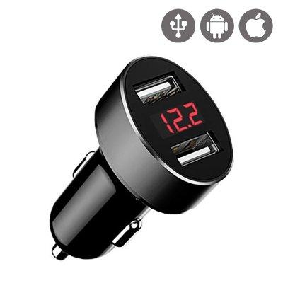 Chargeur Allume-cigare double USB Affichage LED Noir