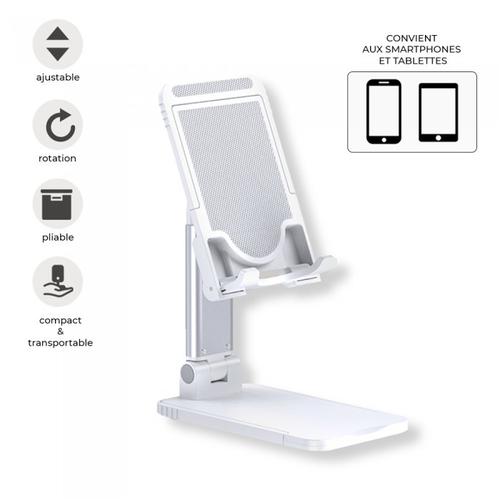 Support de bureau rétractable universel pour téléphone / tablette Blanc