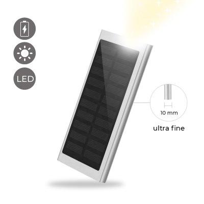 Batterie Portable solaire 8000 mAh étanche charge rapide lumiere LED-argent métalisé
