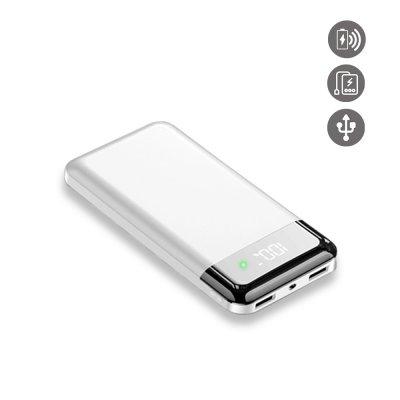 Batterie externe induction et Double Usb 20000 Mah à affichage Numérique led- blanche gold