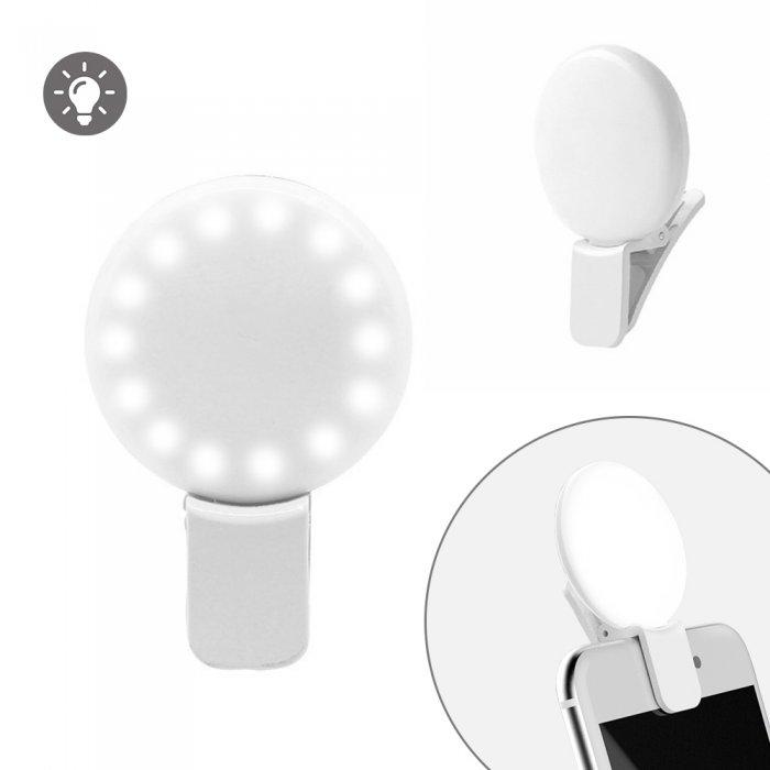 Anneau lumineux à LED 3 niveaux d'intensité lumineuse pour Selfie  blanche