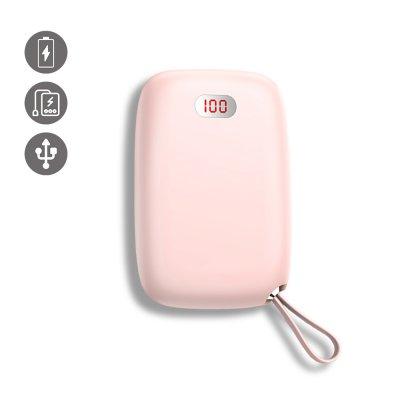 Batterie Double Usb 10000 Mah à affichage Numérique- rose-compacte et puissante