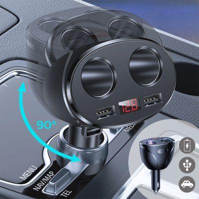 Chargeur allume-cigare voiture à double USB, douple allume-cigare et affichage numérique Noir métalisé