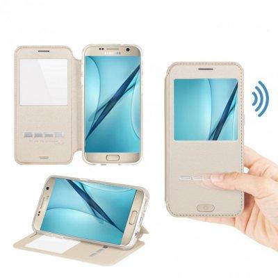 Etui à clapet tactile or pour Samsung Galaxy S7 Edge
