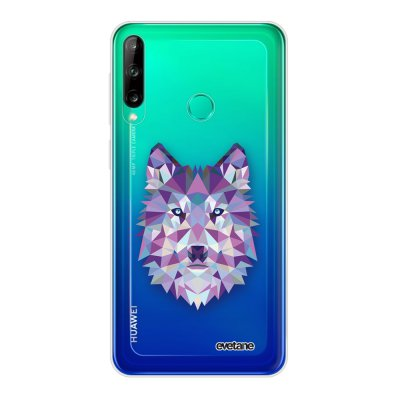 Coque Huawei P40 Lite E souple transparente Loup geometrique Motif Ecriture Tendance Evetane