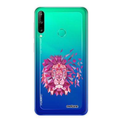 Coque Huawei P40 Lite E souple transparente Lion géométrique rose Motif Ecriture Tendance Evetane