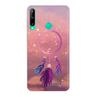 Coque Huawei P40 Lite E souple transparente Attrape rêve rose Motif Ecriture Tendance Evetane