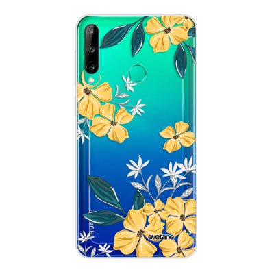 Coque Huawei P40 Lite E souple transparente Fleurs jaunes Motif Ecriture Tendance Evetane