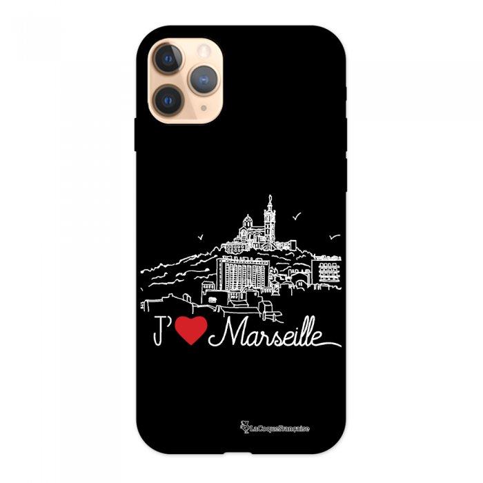 Coque iPhone 11 Pro Silicone Liquide Douce noir J'aime Marseille La Coque Francaise.