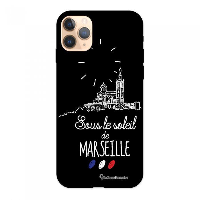 Coque iPhone 11 Pro Silicone Liquide Douce noir Sous le soleil de Marseille La Coque Francaise.