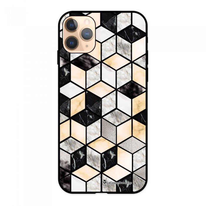 Coque iPhone 11 Pro Silicone Liquide Douce noir Carrés marbre La Coque Francaise.