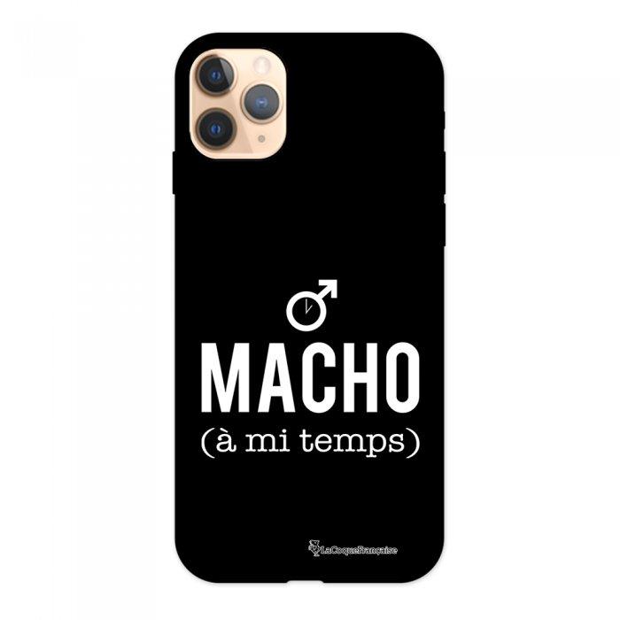 Coque iPhone 11 Pro Silicone Liquide Douce noir Macho a mi temps blanc La Coque Francaise.