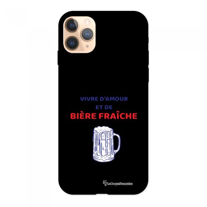 Coque iPhone 11 Pro Silicone Liquide Douce noir Vivre amour et Biere La Coque Francaise.