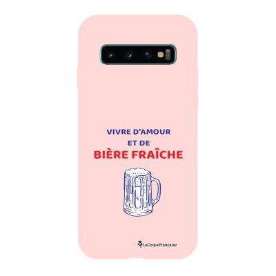 Coque Samsung Galaxy S10 Silicone Liquide Douce rose pâle Vivre amour et Biere La Coque Francaise.
