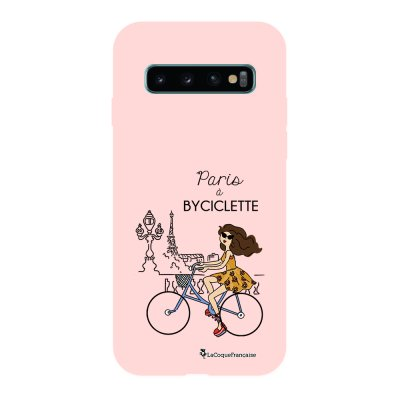 Coque Samsung Galaxy S10 Silicone Liquide Douce rose pâle Paris à Bicyclette La Coque Francaise.