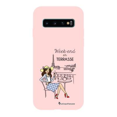 Coque Samsung Galaxy S10 Silicone Liquide Douce rose pâle Week-end en Terrasse La Coque Francaise.