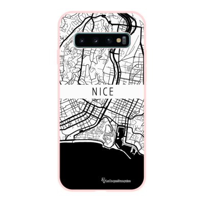 Coque Samsung Galaxy S10 Silicone Liquide Douce rose pâle Carte de Nice La Coque Francaise.