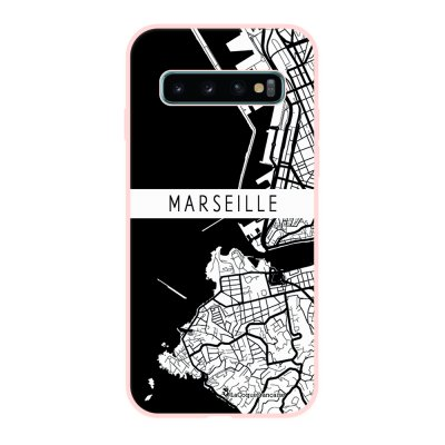 Coque Samsung Galaxy S10 Silicone Liquide Douce rose pâle Carte de Marseille La Coque Francaise.